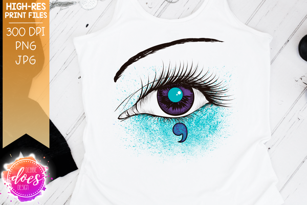 Suicide Awareness Semicolon Eye Design - Purple Teal - Printable/Sublimation File