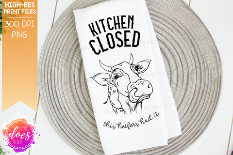 Kitchen Closed - Cute Hand Drawn Cow - Cuttable Version - SVG File