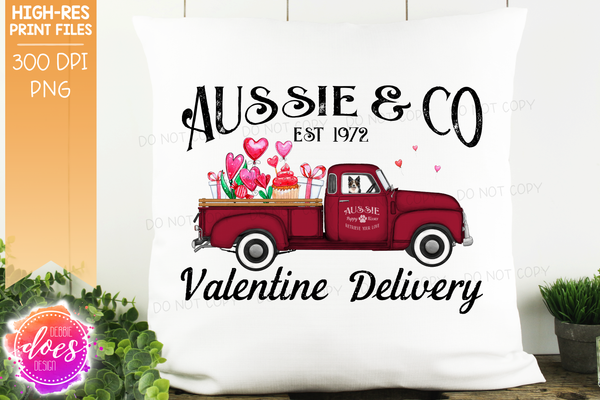 Aussie - Dog Valentines Delivery Truck  - Sublimation/Printable Design