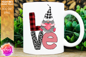 LOVE Gnome - Grey Leopard Plaid - Vertical - Sublimation/Printable Design