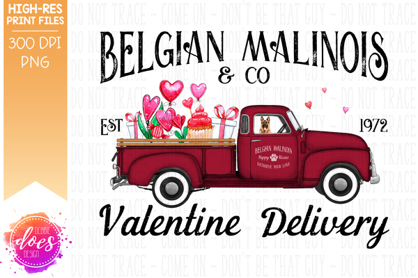 Belgian Malinios - Dog Valentines Delivery Truck  - Sublimation/Printable Design