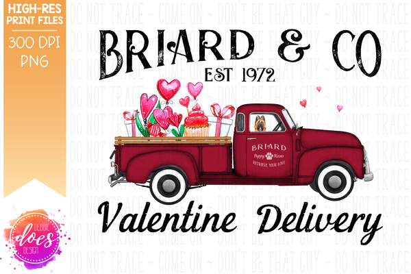 Briard - Dog Valentines Delivery Truck  - Sublimation/Printable Design