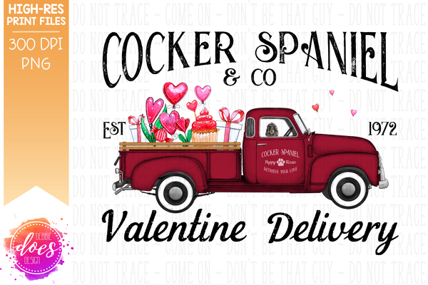Cocker Spaniel - Dark - Dog Valentines Delivery Truck  - Sublimation/Printable Design