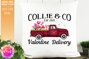 Collie - Dog Valentines Delivery Truck  - Sublimation/Printable Design