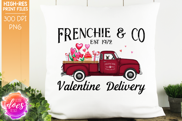 Frenchie - Grey - Dog Valentines Delivery Truck  - Sublimation/Printable Design