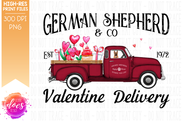 German Shepherd - Dog Valentines Delivery Truck  - Sublimation/Printable Design