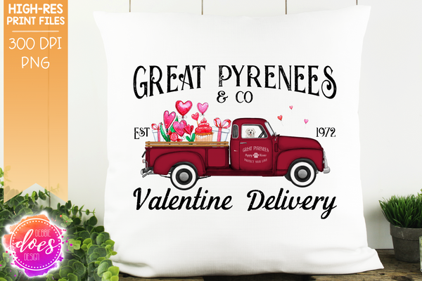 Great Pyrenees - Dog Valentines Delivery Truck  - Sublimation/Printable Design