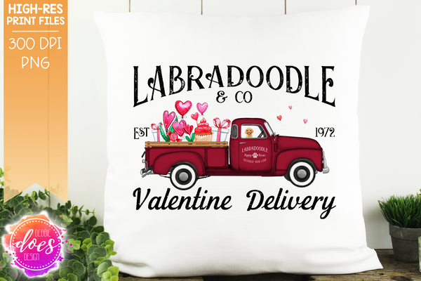 Labradoodle - Golden - Dog Valentines Delivery Truck  - Sublimation/Printable Design