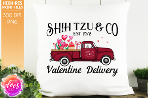 Shih Tzu - Dog Valentines Delivery Truck  - Sublimation/Printable Design