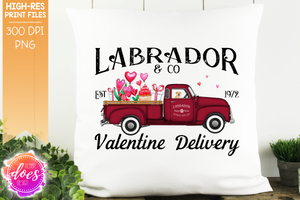 Labrador - Yellow - Dog Valentines Delivery Truck  - Sublimation/Printable Design