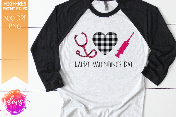 Pink Valentine's Leopard Plaid Nurse Applique - Sublimation/Printable Design