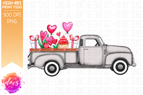 Valentine's Day Truck - Grey - Sublimation/Printable Design