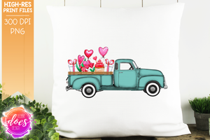 Valentine's Day Truck - Mint - Sublimation/Printable Design