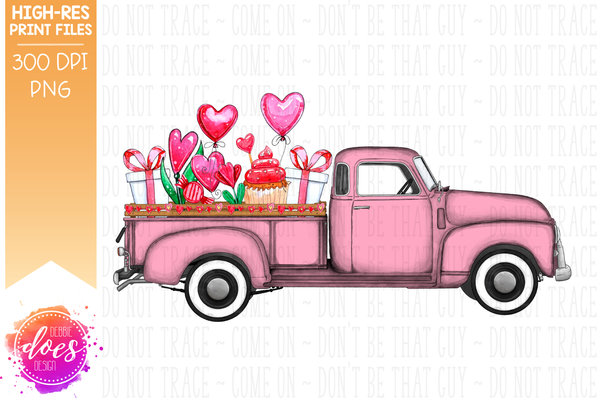 Valentine's Day Truck - Pink - Sublimation/Printable Design
