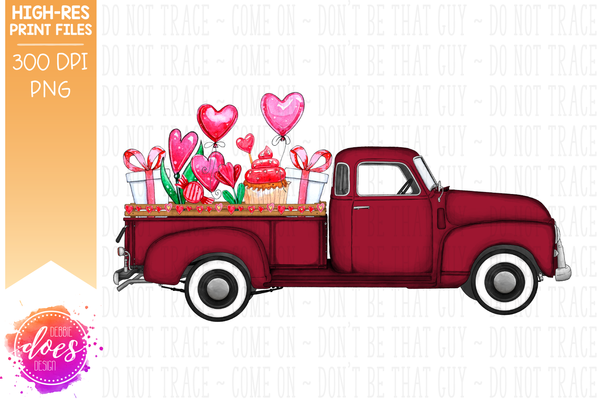 Valentine's Day Truck - Red - Sublimation/Printable Design