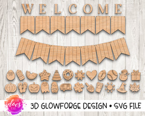 Interchangeable Welcome Banner - 2 Versions! One Piece Curved or Separated - Glowforge Design