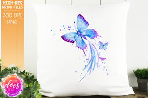 Watercolor Butterfly - Blue - Sublimation/Printable Design