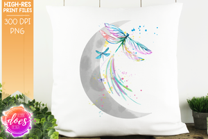 Watercolor Moon with Dragonflies - Sublimation/Printable Design
