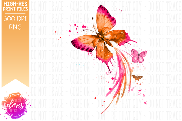 Watercolor Butterflies - Pink and Orange - Sublimation/Printable Design