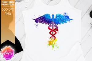 Watercolor Rainbow Medical Caduceus - Sublimation/Printable Design