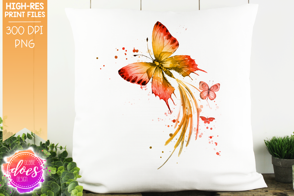 Watercolor Butterflies - Red and Yellow - Sublimation/Printable Design