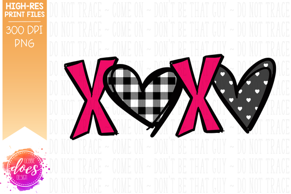 Patterned XOXO - Pink Dot Hearts - Sublimation/Printable Design