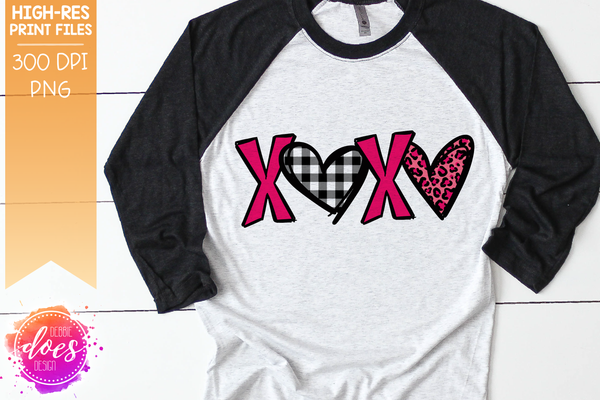 Patterned XOXO - Pink Leopard Hearts - Sublimation/Printable Design