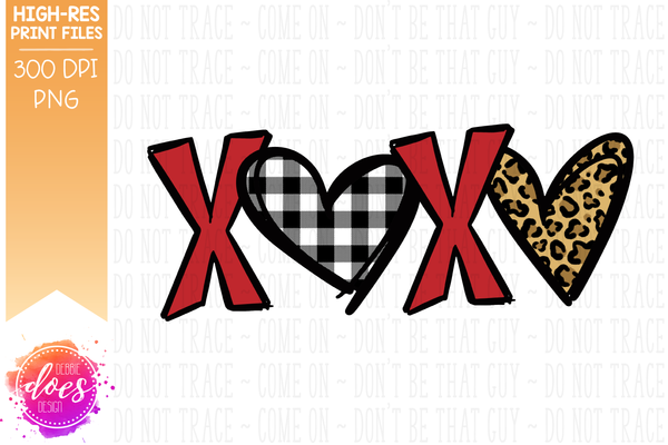 Patterned XOXO - Red Leopard Hearts - Sublimation/Printable Design