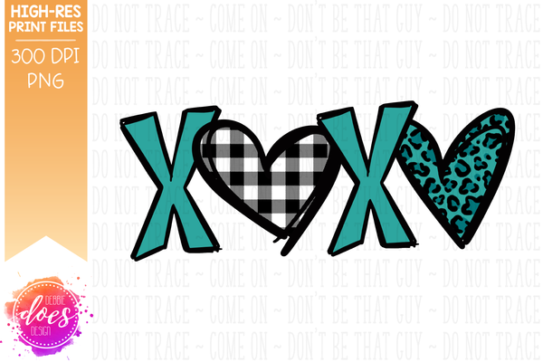 Patterned XOXO - Teal Leopard Hearts - Sublimation/Printable Design