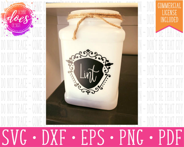 Lint Jar/Lint Trap Label Design - SVG | Digital Cut Files Svg | Vinyl Decal Svg | Vinyl Stencil Svg