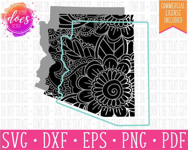 Paisley Mandala State - Arizona - SVG | Digital Cut Files | HTV Svg | Vinyl Decal Svg | Vinyl Stencil Svg