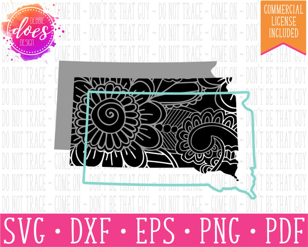 Paisley Mandala State - South Dakota  - SVG | Digital Cut Files | HTV Svg | Vinyl Decal Svg | Vinyl Stencil Svg