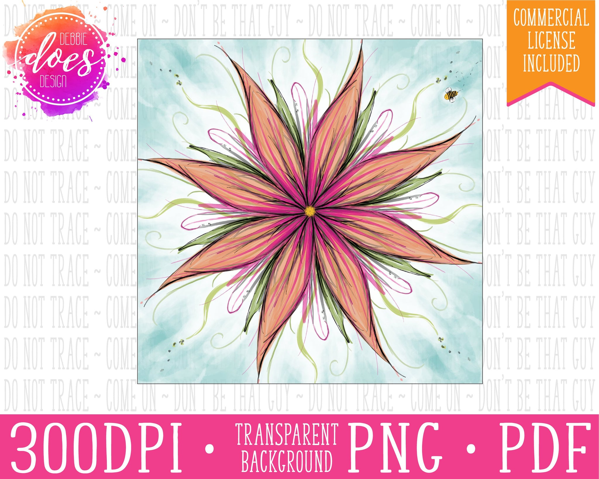 Pink Flower Painting Print | Instant Download | Sublimation | Printable | PNG | PDF