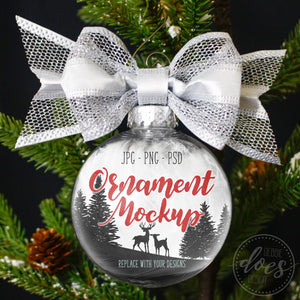 Ornament Mockup with Silver Bow | Transparent Ornament Mockup | Blank Mockup Photo Download