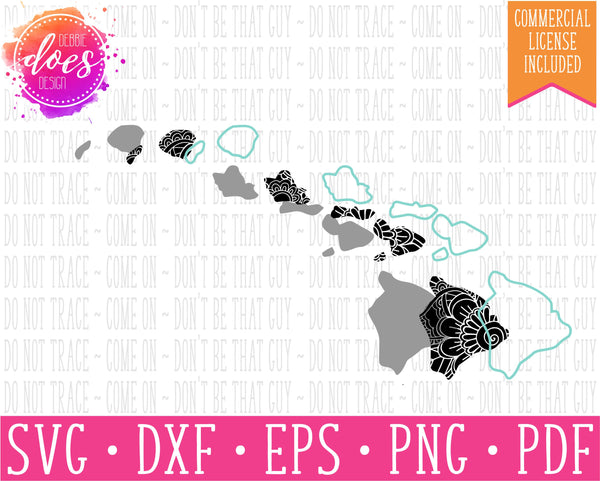 Paisley Mandala State - Hawaii  - SVG | Digital Cut Files | HTV Svg | Vinyl Decal Svg | Vinyl Stencil Svg