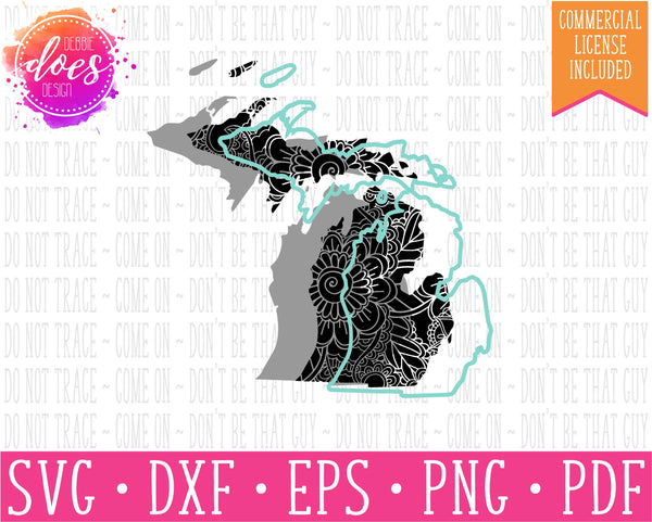 Paisley Mandala State - Michigan  - SVG | Digital Cut Files | HTV Svg | Vinyl Decal Svg | Vinyl Stencil Svg
