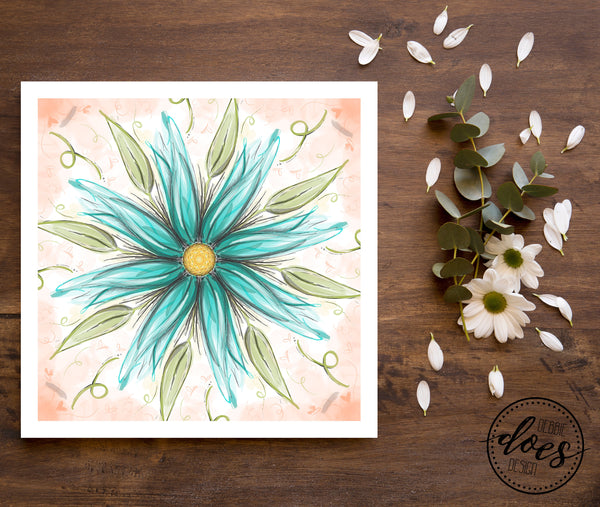 Blue Flower Painting Print | Instant Download | Sublimation | Printable | PNG | PDF