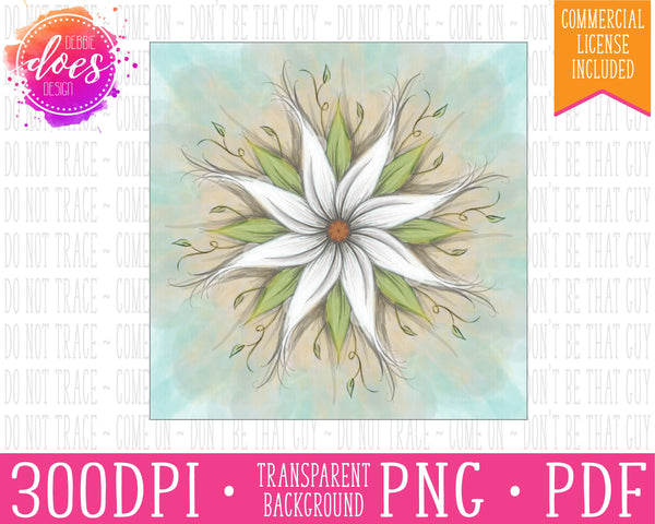 White Flower Painting Print | Instant Download | Sublimation | Printable | PNG | PDF