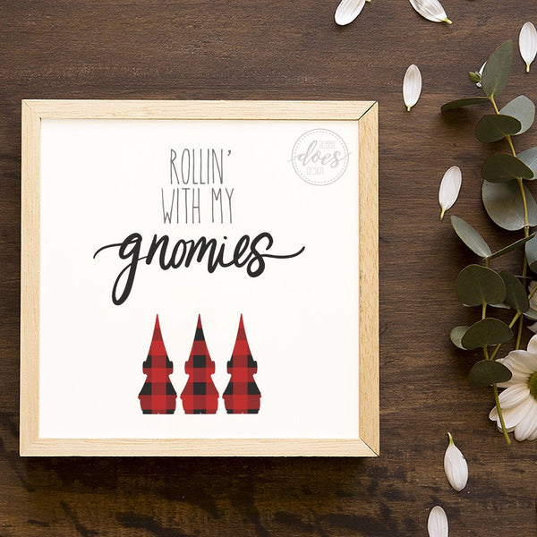 Rollin' with my Gnomies - Buffalo Plaid - SVG | Digital Cut File | HTV Svg | Vinyl Decal Svg | Vinyl Stencil Svg | Printable | Sublimation