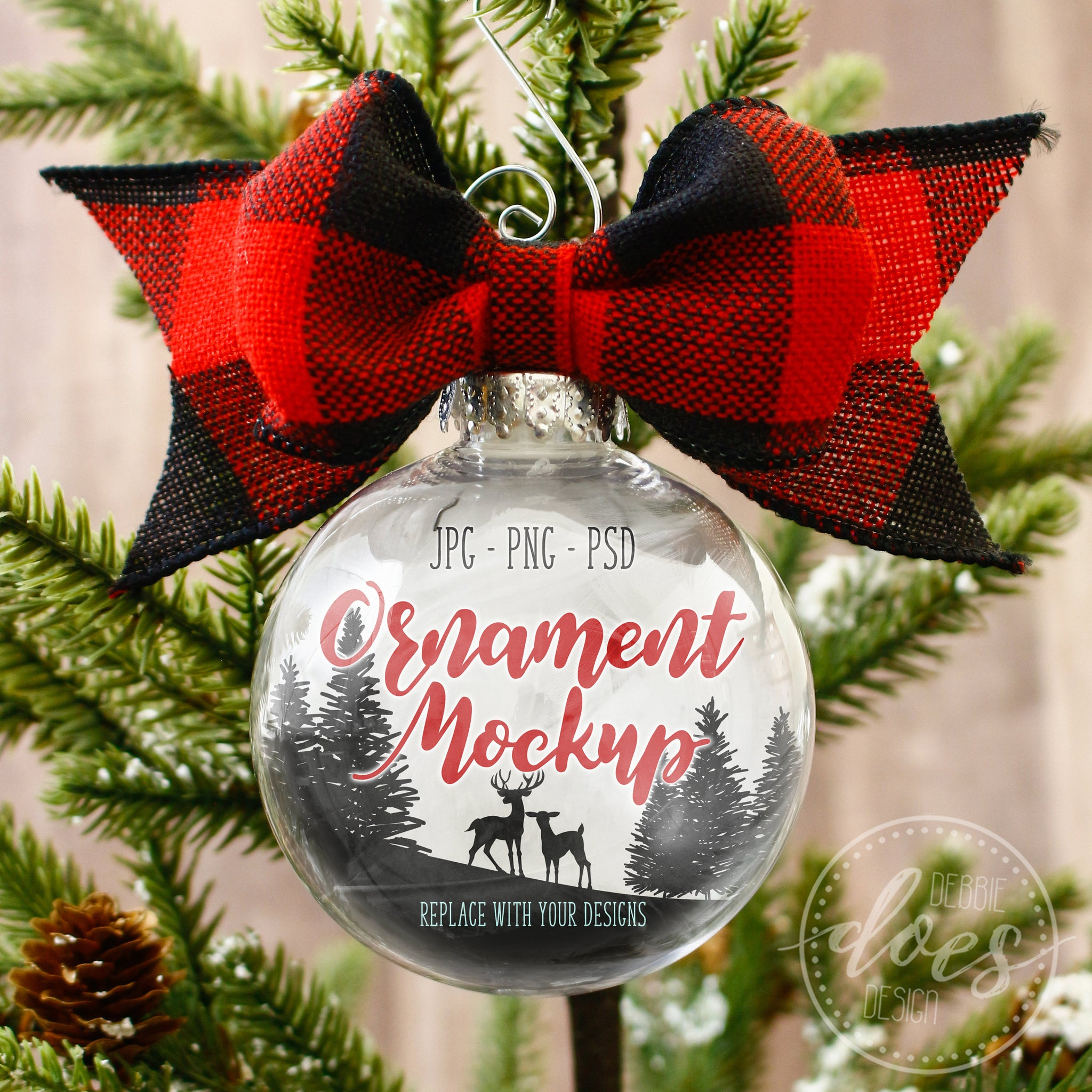 Ornament Mockup with Buffalo Plaid Bow | Transparent Ornament Mockup | Blank Mockup Photo Download