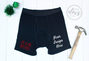 Black Boxer Briefs Mockup with Hammer | Blank Mockup Photo Download