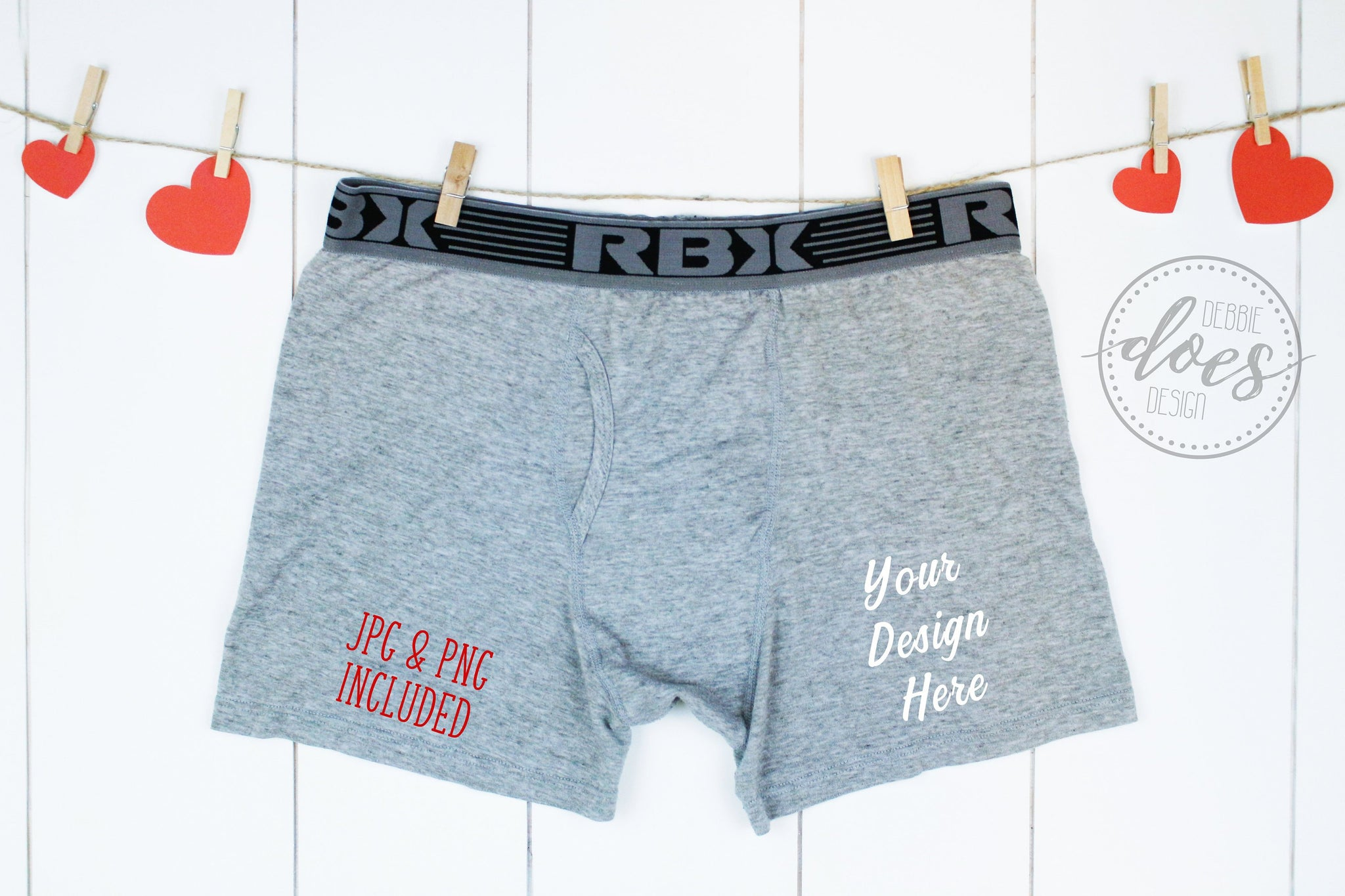 Grey Boxer Briefs Mockup on Clothesline with Hearts | Valentines | Blank Mockup Photo Download
