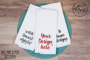 White Waffle Weave Hand Towels - 3 Stacked - with Smart Objects | Kitchen Towel | Blank Mockup Photo Download