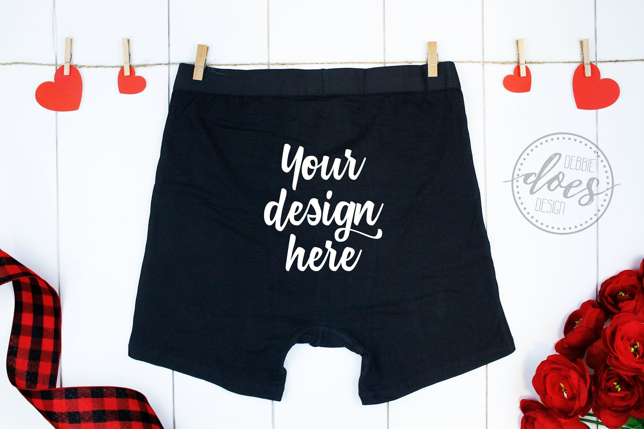 Black Boxer Briefs Mockup with Hearts and Roses | BACK VIEW | Valentines | Blank Mockup Photo Download