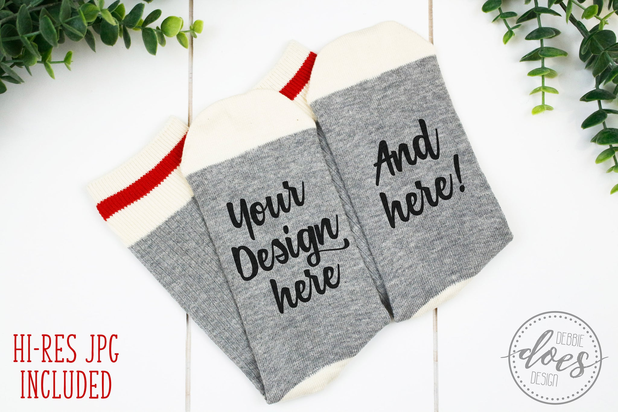 Grey Talking Socks Mockup | Grey Wool Socks Mock-Up | Blank Mock Up Photo Download