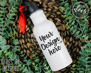 White Sublimation Water Bottle Mockup | Water Bottle with Straw Mock-Up | Blank Mock Up Photo Download