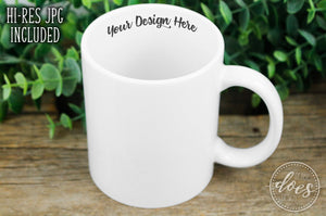 White 11oz Mug Top View Mockup | White Mug Mock-Up | Blank Mock Up Photo Download