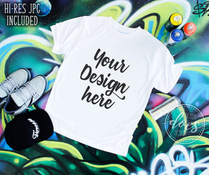 Graffiti Tee Shirt Mockup | White Tee Mock-Up | Blank Mock Up Photo Download