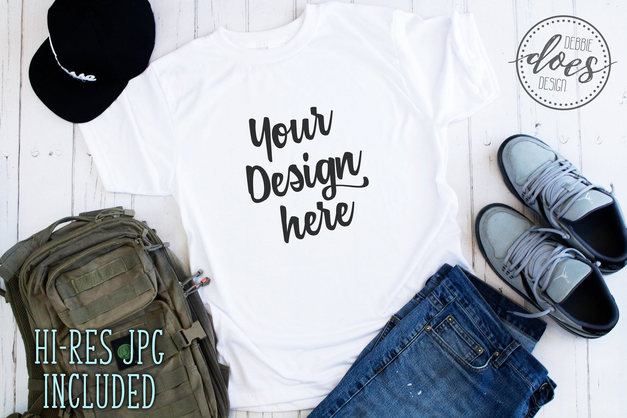 Men's Vapor Tee Shirt Mockup | White Tee Mock-Up | Blank Mock Up Photo Download