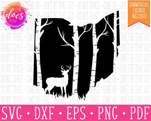 Ohio Deer & Trees Silhouette - SVG | Digital Cut Files | HTV Svg | Vinyl Decal Svg | Vinyl Stencil Svg